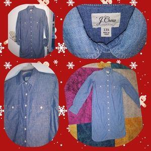 J.Crew full button down shirt dress EUC